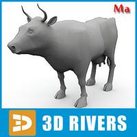 3d model polygonal cow