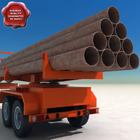3d pipe carrier trailer model