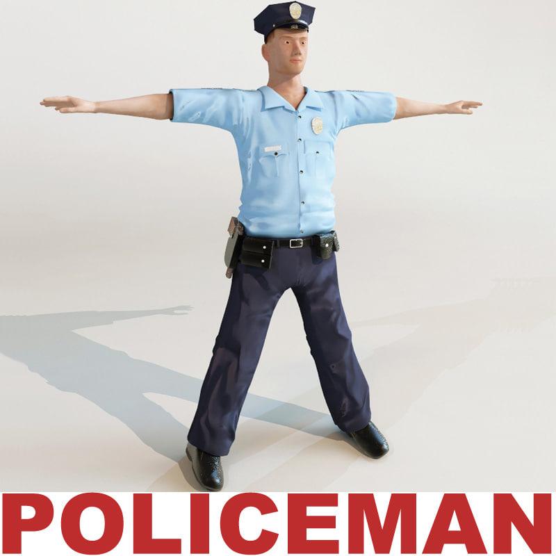policeman modelled 3d model