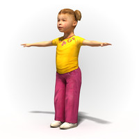 Child girl 1001~Rigged human model