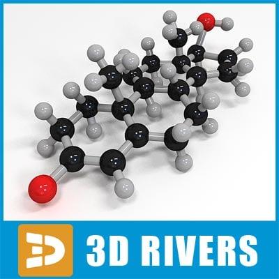 3d 3ds testosteron molecule structure