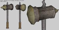 3d medieval war hamer mace model
