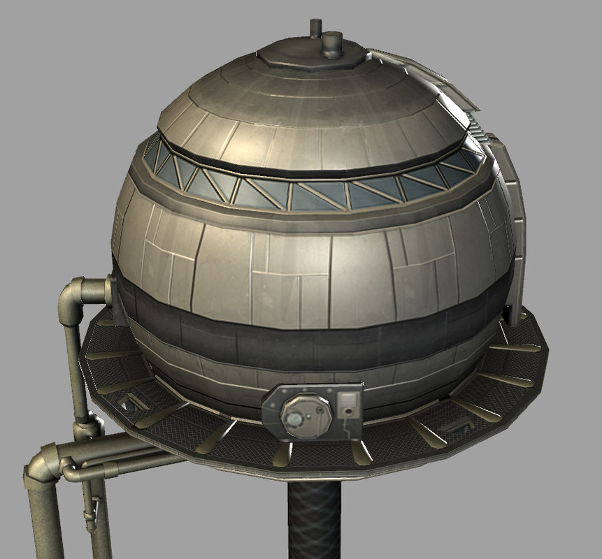 3d model sci-fi water tower