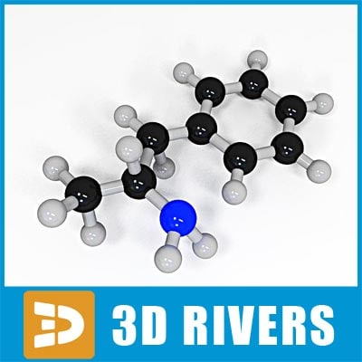 amphetamine molecule structure 3d 3ds