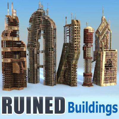 futuristic buildings ruined city 3d model