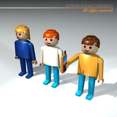 3d model plastic figures man woman