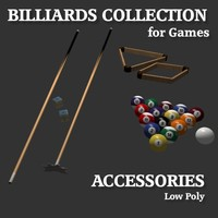 Low Poly Billiards Accessories Collection