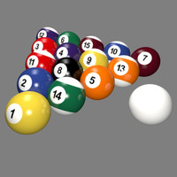 3d model traditional style billiard balls