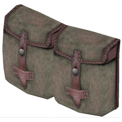 wwii ammunition pouch 3d model