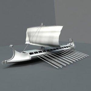 3d model war ship greek ancient