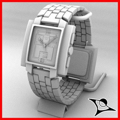 3d watch modelled model