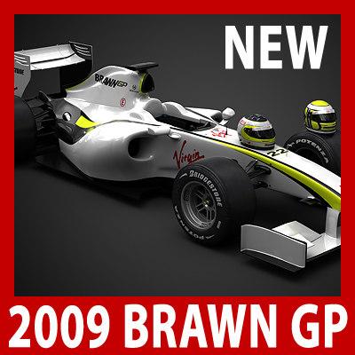 f1 formula1 2009 car wheels 3d model