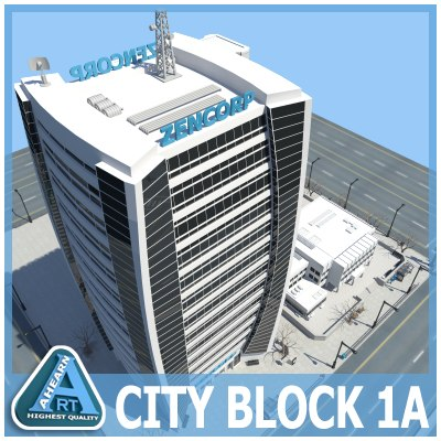 city block buildings 3d max