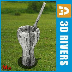 3d model old mortar masher 01