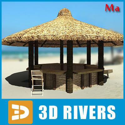 3d model tropical beach bar chairs