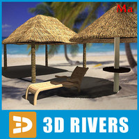 3ds max tropical beach umbrella deck chair