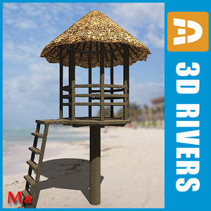 tropical lifeguard tower 3d fbx