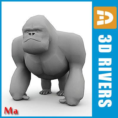 polygonal gorilla 3d model