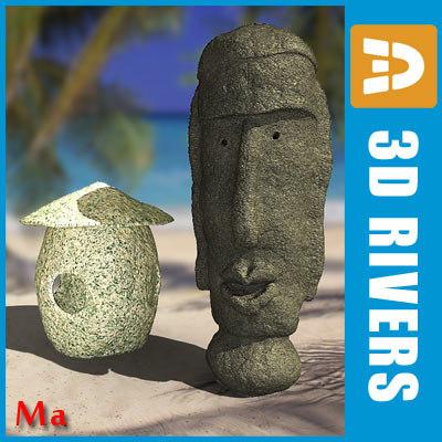 stoned lamp idol streets 3d model