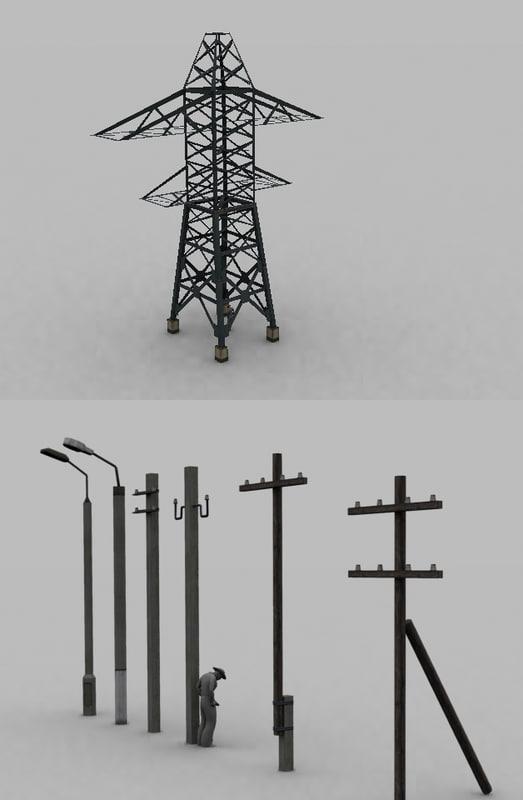 columns illumination electric 3d model