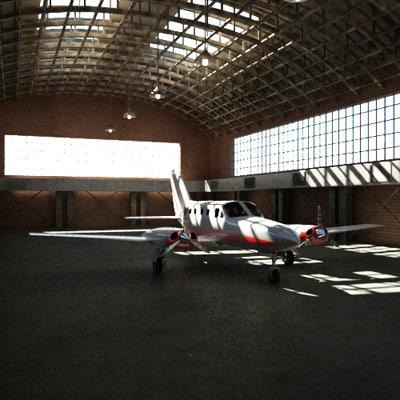 3d 3ds hangar air plane