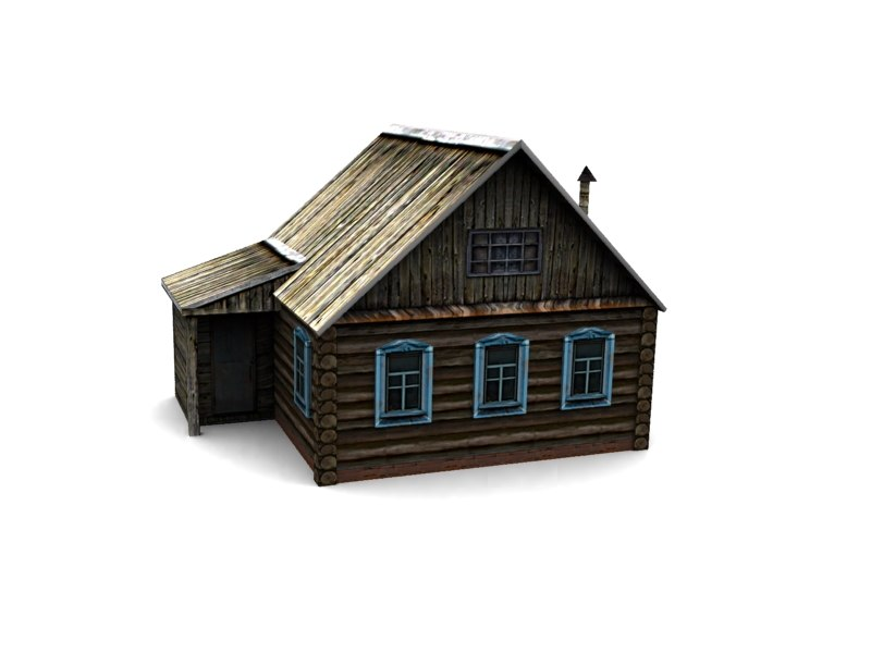3d low-poly wood house