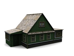 3d max low-poly wood house