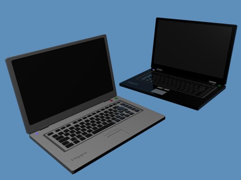 laptops gray black 3d 3ds