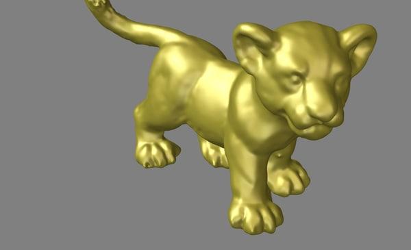 3d lion young model
