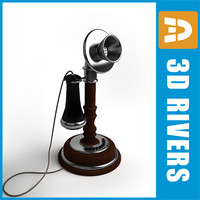 retro telephone 3d obj