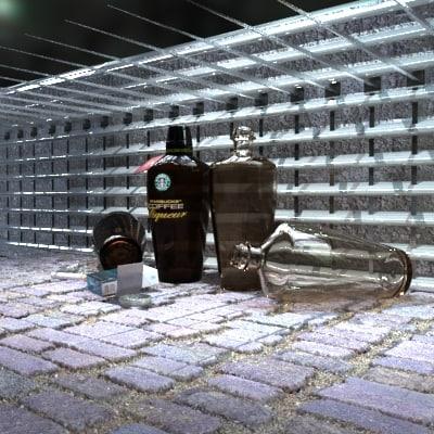 3d model starbucks bottles cigarettes