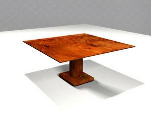 free wood table 3d model