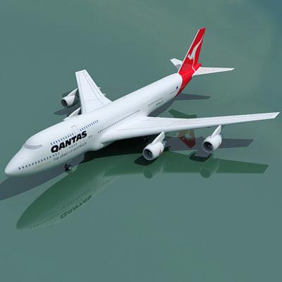 3ds max b 747 qantas