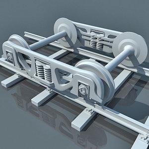 train wheels railway 3d model