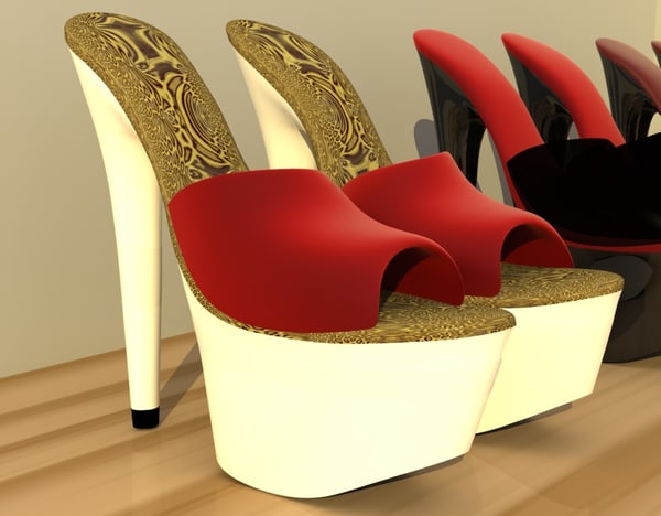 hot woman shoes heels 3d dxf