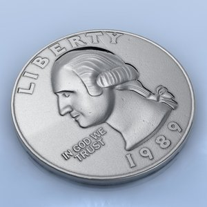 coins quarter 25 cent 3d model