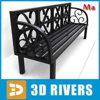 old wooden bench v1 3d x