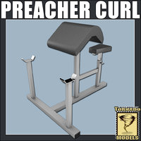 3d model of preacher curl