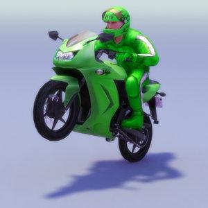 kawasaki ninja rider riding 3d model