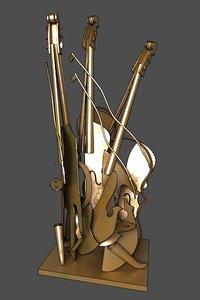 3d abstract metallic violin figure