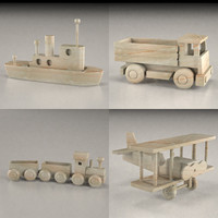 wooden vehicle toys 3d model