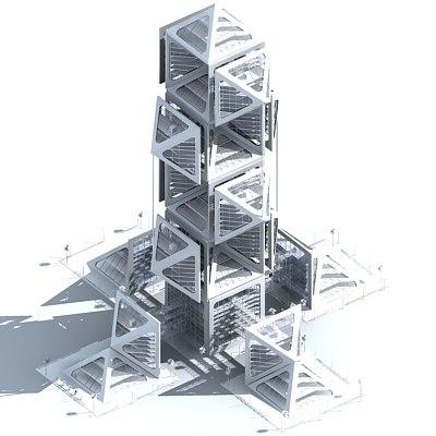 futuristic skyscraper 3d model