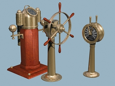 3d model ship flying steering wheel