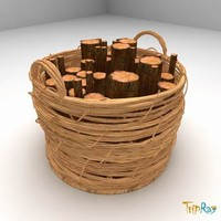 Basket with a logs