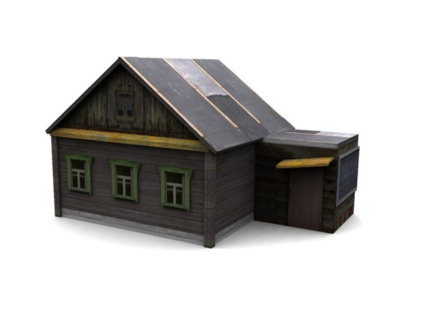 low-poly wood house 3d max
