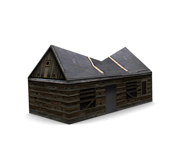 3ds max low-poly wood house