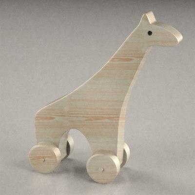 3d 3ds wooden giraffe