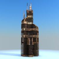 Sci Fi Ruined Building 03