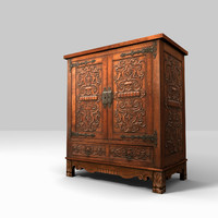 Low Poly Carved Cabinet 3d Model