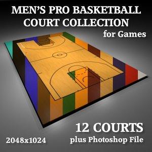3d men pro basketball courts